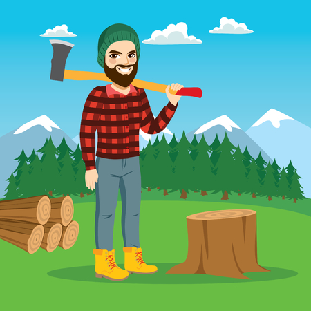 Bearded male lumberjack cutting tree with axe on forest Ilustração