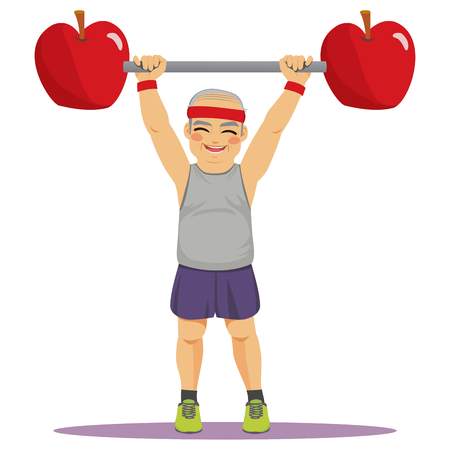 Happy senior man exercising with apples dumbbell bar weight healthy diet concept