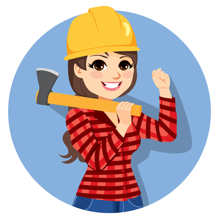 Beautiful professional young brunette female lumberjack with axe raising fist up Illustration