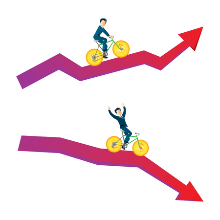 Businessman with money bicycle going up and down on graph wealth business concept