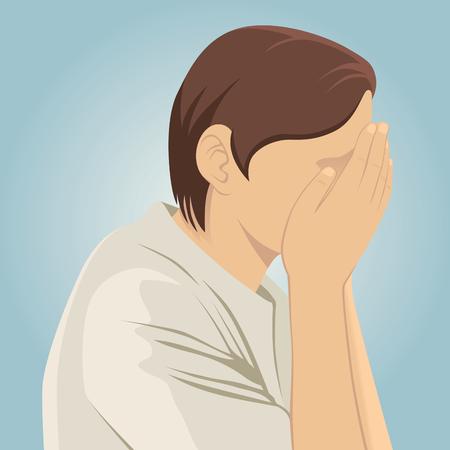 Smutny przygnębiony mężczyzna z rękami na twarzy i niebieskim tle