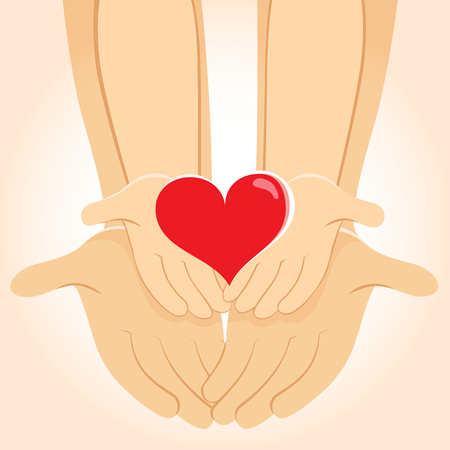Illustration of child and father hands holding heart family concept  イラスト・ベクター素材
