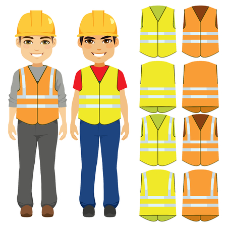 Male builder contractor uniform with safety helmet and orange or yellow vests