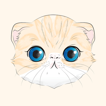 Watercolor illustration of sweet orange Scottish fold cat head with blue eyes
