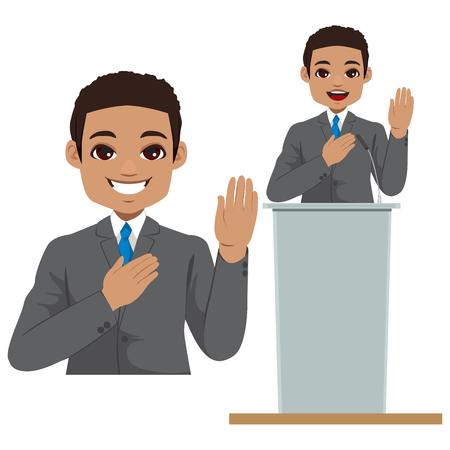 Jeune homme politique afro-américain faisant serment avec la main