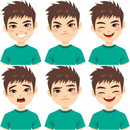 Face expressions of teenager boy with brown hair on different emotions set isolated on white background