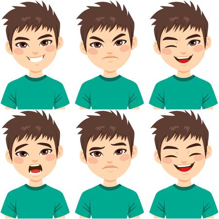 Gesichtsausdrücke des Teenagerjungen mit braunen Haaren auf verschiedenen Emotionen, isoliert auf weißem Hintergrund
