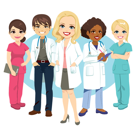 Female and male professional hospital medical staff standing smiling Ilustrace