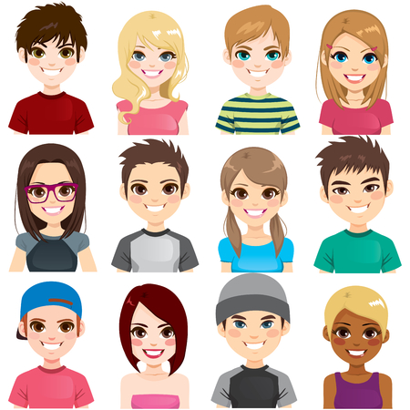 Collection set of twelve different group teenager people avatar portraits smiling Illustration
