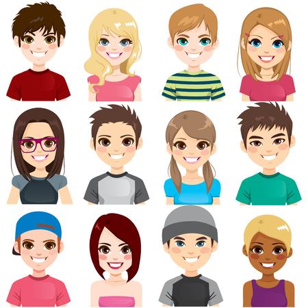 Sammlungssatz von zwölf verschiedenen Gruppenjugendlichen-Avatarporträts, die lächeln