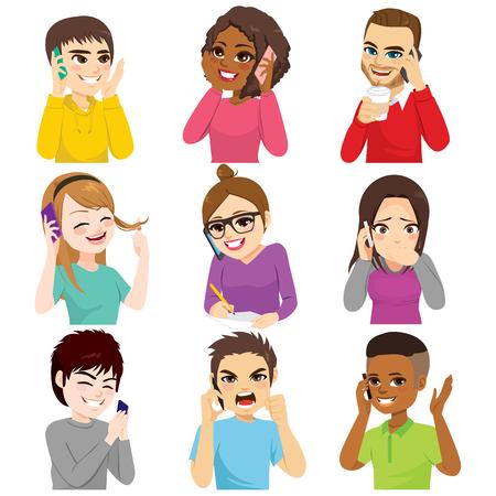 Ensemble de jeunes parlant avec un smartphone