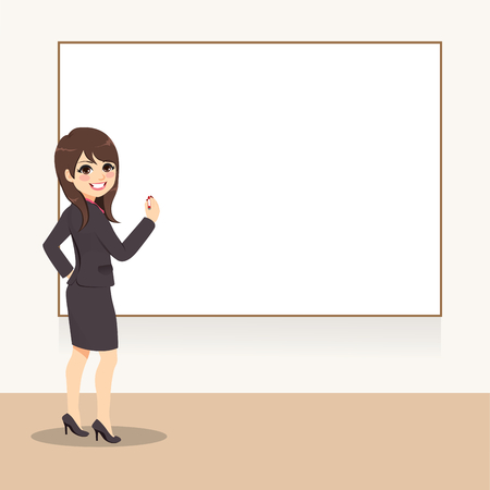 Young Business woman writing on whiteboard  looking back on seminar presentation