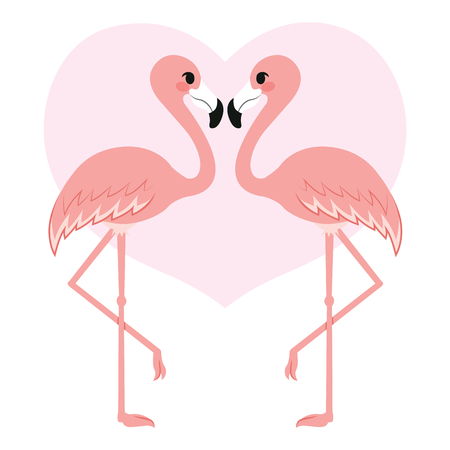 Two flamingo birds kissing with pink heart on background  イラスト・ベクター素材