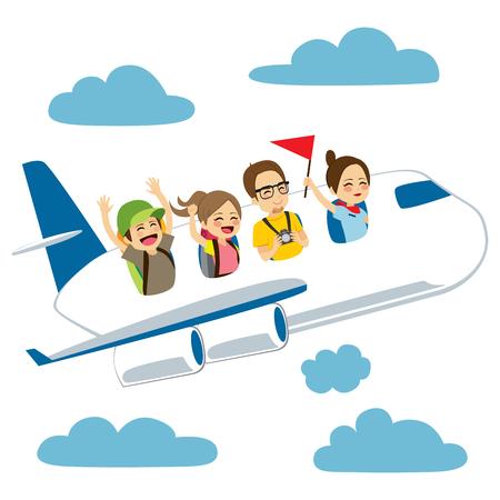 Four happy tourist people traveling with plane on sky Vektorové ilustrace
