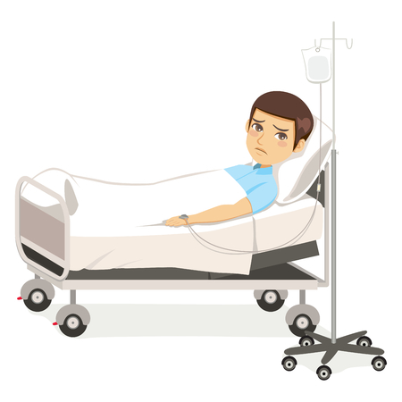 Young sad man patient resting in hospital bed isolated on white Illustration
