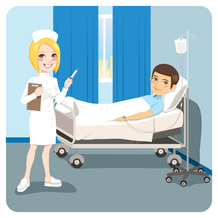 Happy nurse on hospital bedroom with injection treatment for man ill on bed 일러스트