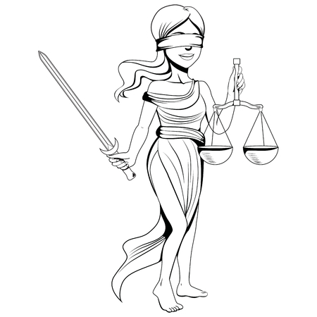 Line art illustration of lady justice figure with blindfold holding scale and sword