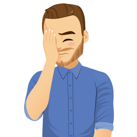 Illustration of young man with beard making facepalm frustration expression