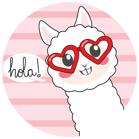 Cute llama wearing heart shaped glasses with hola text meaning hello in Spanish