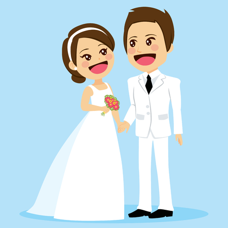 Illustration of cute couple in white dress on wedding day holding hands looking each other tenderly with love