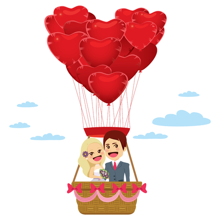 Illustration of cute couple flying on basket hanging from red heart shaped balloons happy wedding day concept