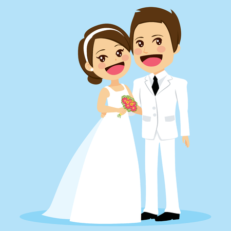 Illustration of cute couple in white dress on wedding day standing posing embracing in love Illustration