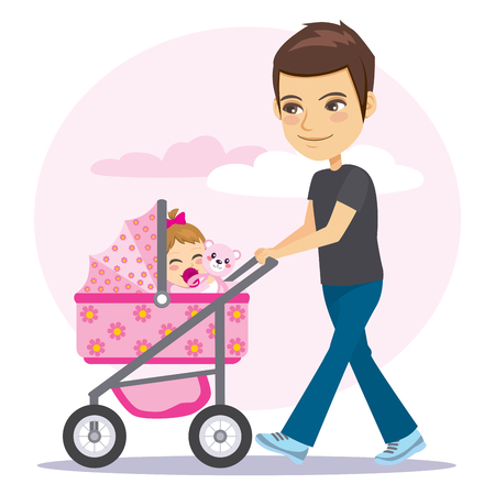 Young father in casual clothing walking pushing little pink baby girl pram