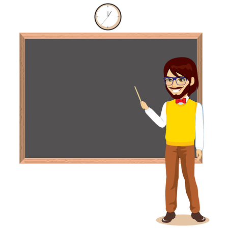 Happy bearded young teacher pointing blackboard standing