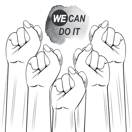 Black and white illustration of female fists raised up protesting