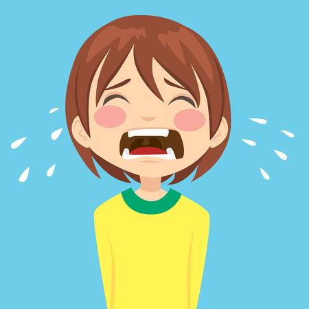 Illustration of cute unhappy little boy crying sad having a tantrum