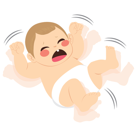 Illustration of cute little newborn baby crying sad having a tantrum Çizim