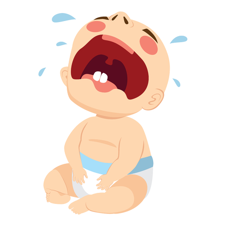 Illustration of cute little baby crying sad with mouth wide open