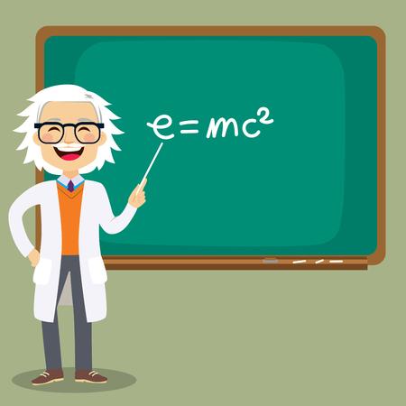 Alter älterer männlicher Naturwissenschaftslehrer, der Unterricht vor der Tafel zeigt, die auf Massenenergieäquivalenz e = mc2-Formel zeigt Vektorgrafik