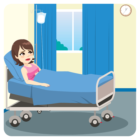 Sad ill female patient lying on bed worried sick waiting alone on hospital bedroom