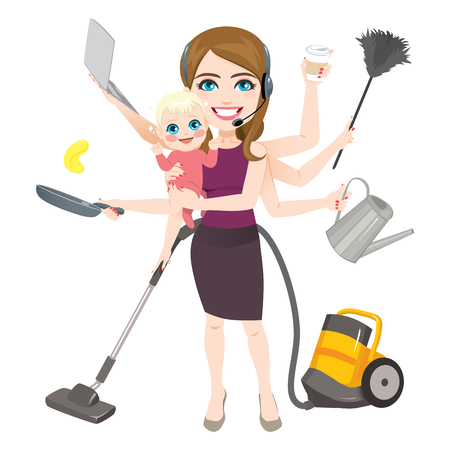 Mother holding newborn baby wearing headset and holding different household and work related objects cleaning cooking and working multitask concept