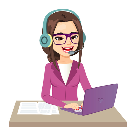 Illustration of young call center operator girl working on computer typing smiling happy looking at laptop screen