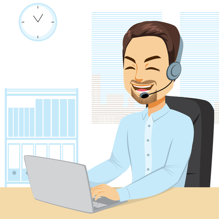 Illustration of Male call center operator with headset working on laptop typing smiling happy answering phone call