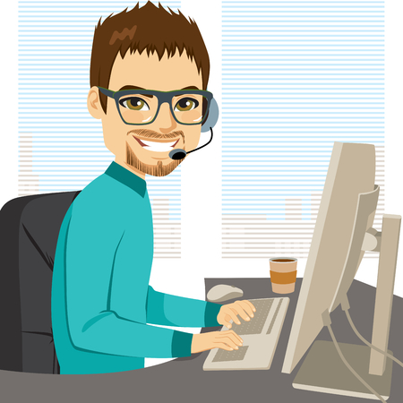 Young adult male help call center operator working on desk typing on computer keyboard and talking with headphones helpline concept Vetores