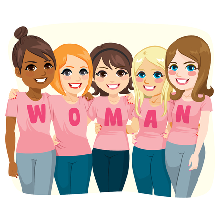 Five girl friends posing together wearing pink t-shirts making text WOMAN for female power concept