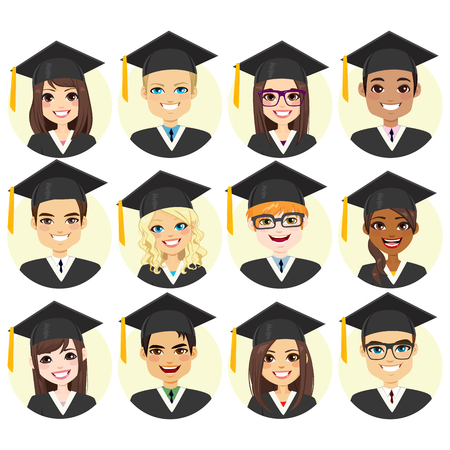 Set collection of different graduation student face avatar with graduate cap