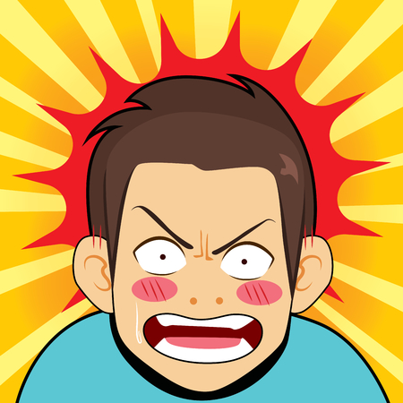 Comic illustration of surprised angry man furious shocked reaction cartoon background