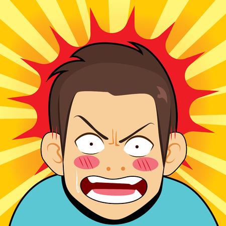 Illustration comique d'un homme en colère surpris, fond de dessin animé de réaction choquée furieuse Vecteurs