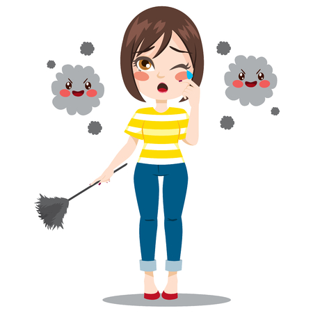 Young woman holding duster cleaning suffering dust allergy reaction Vector Illustration