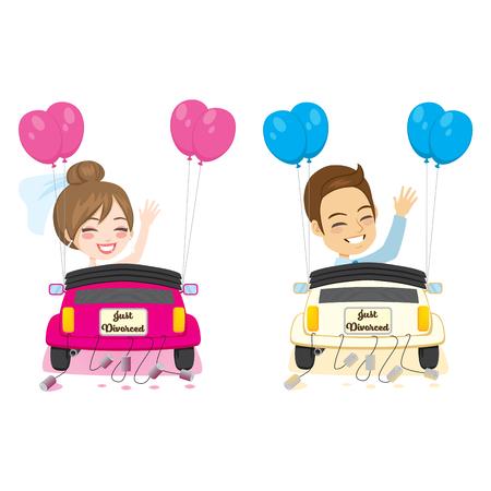 Just divorced couple happy break up amicable divorce concept