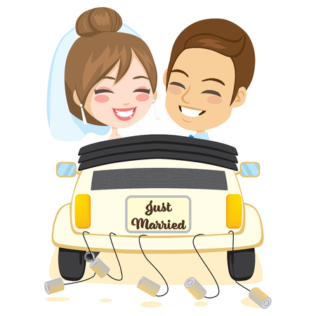 Newlywed smiling groom and bride couple driving retro car rear view Illustration
