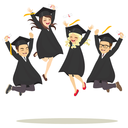 Young happy girls and boys students in academic dress jumping celebrating together graduation ceremony day