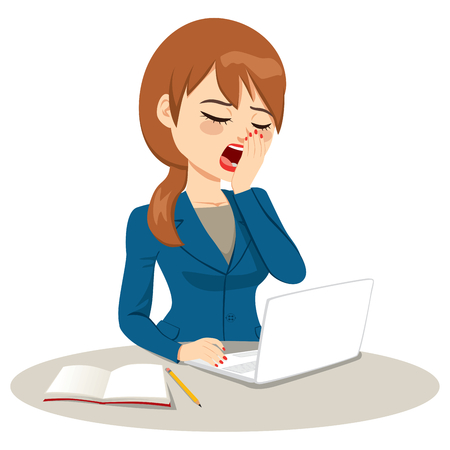 Young light brown haired businesswoman working on laptop yawning covering mouth with hand bored concept