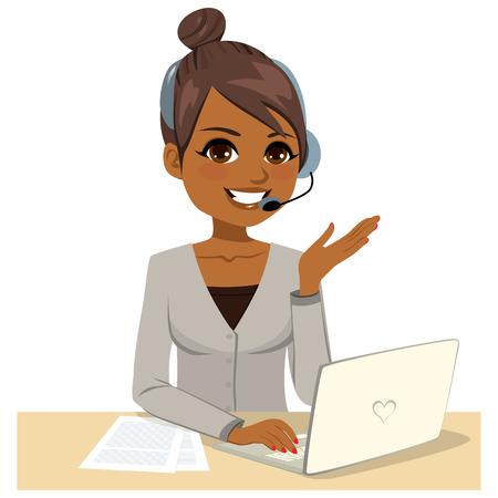 Illustrazione della donna dell'operatore di call center che indossa le cuffie che lavora al concetto di help desk del laptop Vettoriali