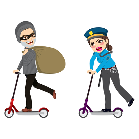 Police woman running with electric scooter chasing burglar carrying bag full of cash money Illustration