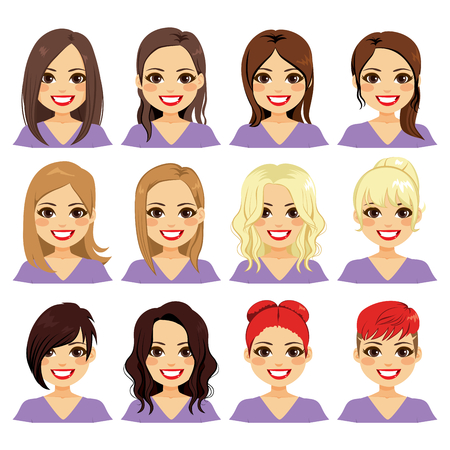 Set of woman character with different color hair and hairstyle Vector Illustratie